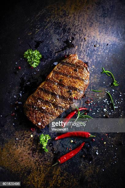 Rump steak, chili and rosemary