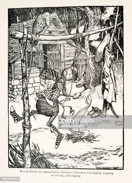 Rumpelstiltskin 1909 Round the fire an indescribably ridiculous little man was leaping hopping on one leg and singing Rumpelstiltskin from The Fairy...