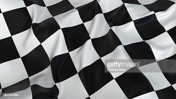 A rumpled black and white checkered flag