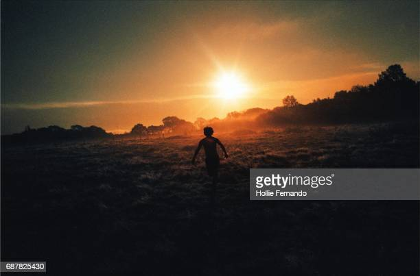 run at the sun - in silhouette stock pictures, royalty-free photos & images
