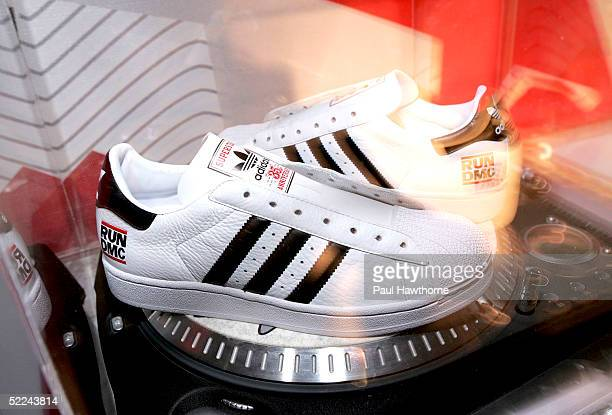 Run DMC Addidas during the 35th anniversary of the Addidas superstar sneaker honoring the life of Jam Master Jay at Skylight Studios on February 25...