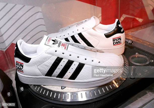 Run DMC Addidas during the 35th anniversary of the Addidas superstar sneaker honoring the life of Jam Master Jay at Skylight Studios on February 25,...