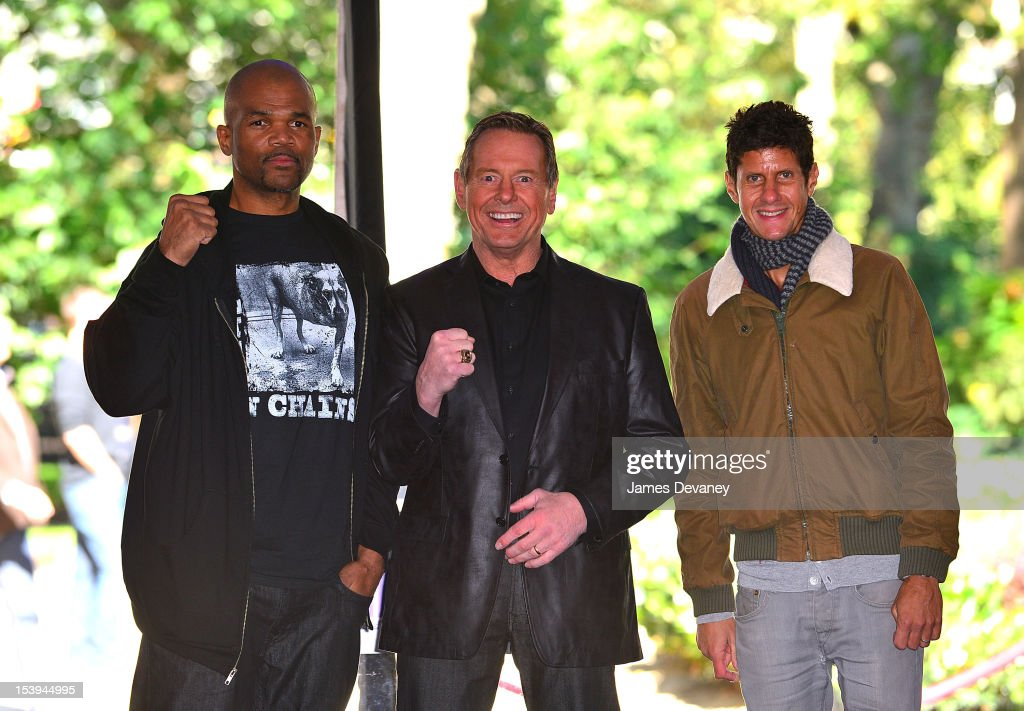 Run DMC Darryl McDaniels, WWE Hall of Famer ÒRowdyÓ Roddy Piper and Beastie Boys Mike D attends Madison Square Garden's 'Garden 366' And 'Defining Moments' Exhibition Openings at Madison Square Park on October 11, 2012 in New York City.
