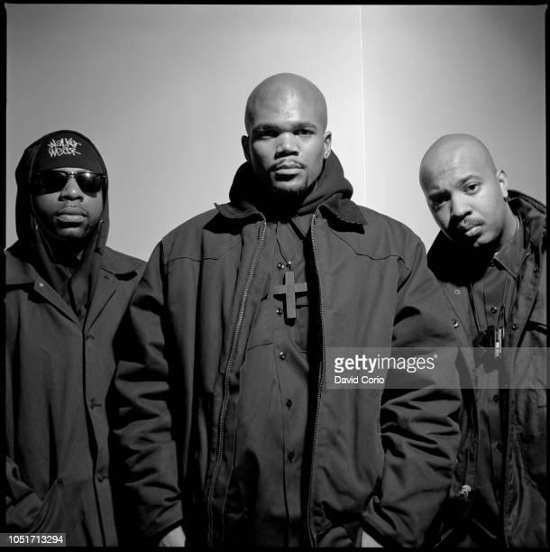 Run DMC, group portrait, at Eyejammy W25th St NYC 19 March 1993. L-R Jason Mizell, Darryl McDaniels, Joseph Simmons.