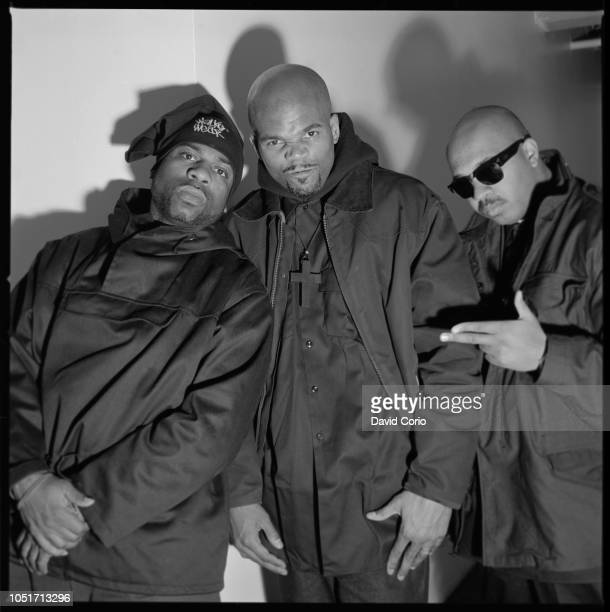 Run DMC group portrait at Eyejammy W25th St NYC 19 March 1993 LR Jason Mizell Darryl McDaniels Joseph Simmons