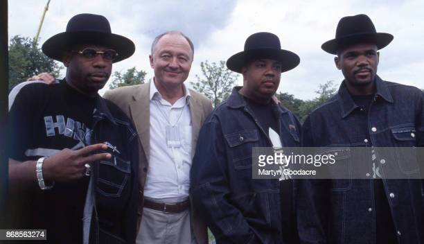 Run DMC with London mayor Ken Livingstone backstage at Respect Festival Finsbury Park London 21st July 2001