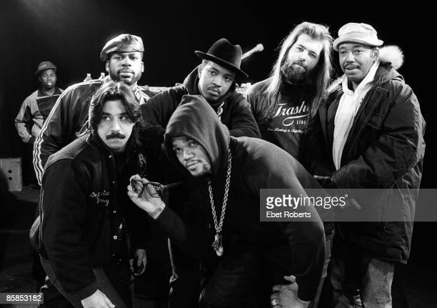 Run DMC with Rick Rubin Russell Simmons and Vinnie Giordano producer of the 'Tougher Than Leather' movie at The Ritz in New York City on January 28...