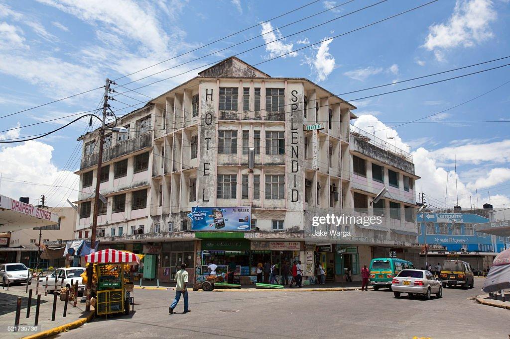 Run down Splendid Hotel in Mombasa : Stock Photo