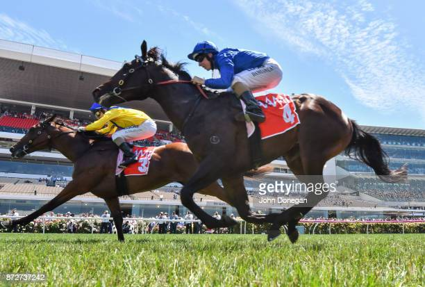Run Naan ridden by Andrew Mallyon wins the AAMI Maribyrnong Plate at Flemington Racecourse on November 11 2017 in Flemington Australia