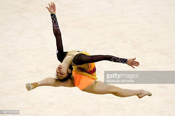 Runa Yamaguchi of Japan performs during the rhythmic gymnastics individual allaround final during the 16th Asian Games on November 26 2010 Anna...