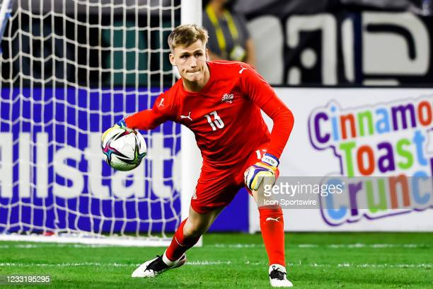 Runar Alex Runarsson looks for his teammates during the game between Mexico and Iceland on May 29, 2021 at AT&T Stadium in Arlington, Texas.