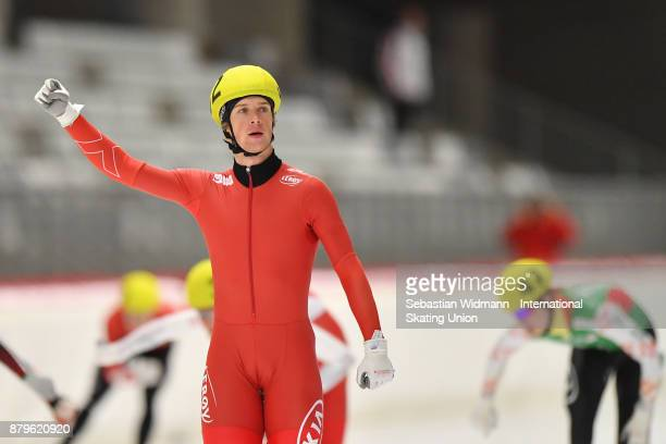 Runar Njatun Kroyer of Norway gestures during the Men mass start at the ISU Neo Senior World Cup Speed Skating at Max Aicher Arena on November 26...