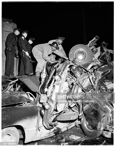 Runaway box car vs auto train in crossing accident at 25th and Alameda May 25 1951 Leona Moon ambulance attendant Jimmie Owensofficer J J...