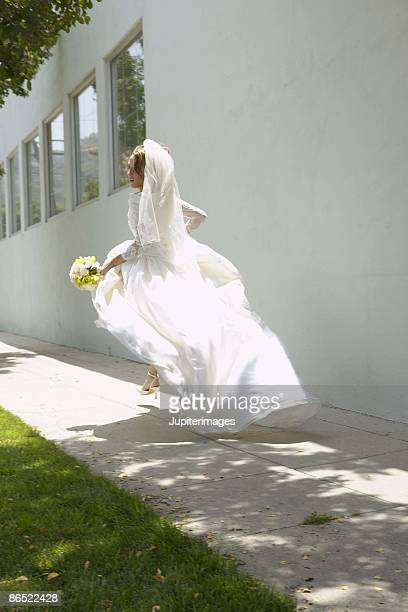 runaway bride - veil stock photos and pictures