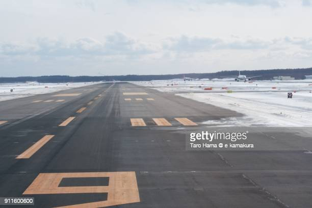 Runaway in New Chitose Airport in Hokkaido in Japan in winter