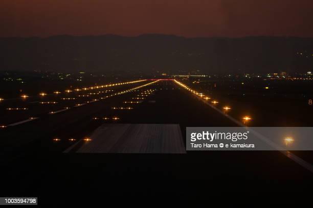 Runaway in Osaka International Airport Itami in the sunset