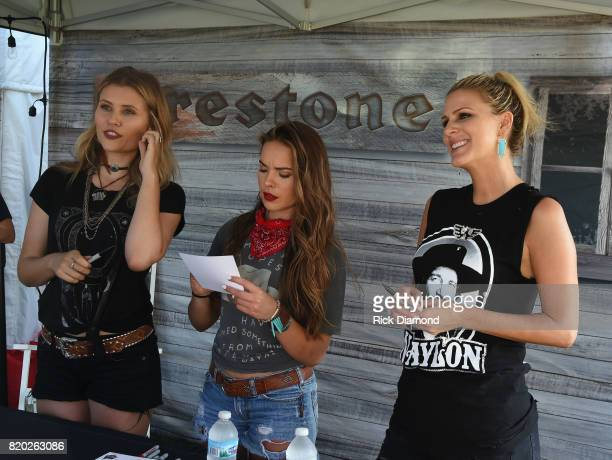 Runaway June L/R Hannah Mulholland Naomi Cooke and Jennifer Wayne meet fans at Firestone during Country Thunder In Twin Lakes Wisconsin Day 1 on July...