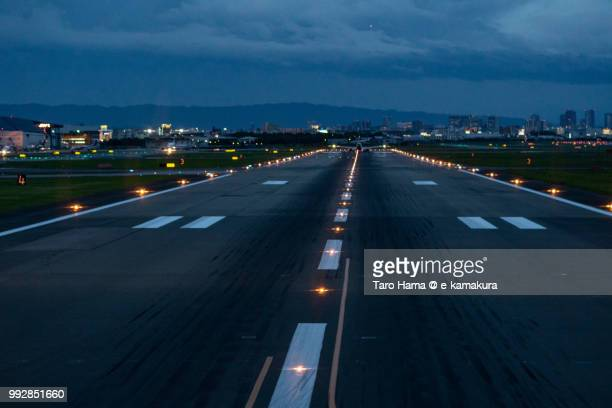 runaway of osaka international airport itami - airport runway stock pictures, royalty-free photos & images