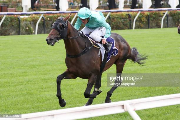 Runaway ridden by Damien Oliver wins the World Horse Racing Trophy at Flemington Racecourse on February 13, 2021 in Flemington, Australia.