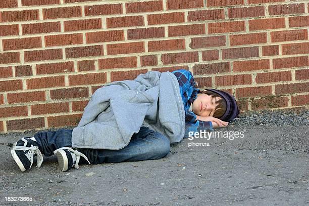 Runaway Teenage Boy Asleep in Alley