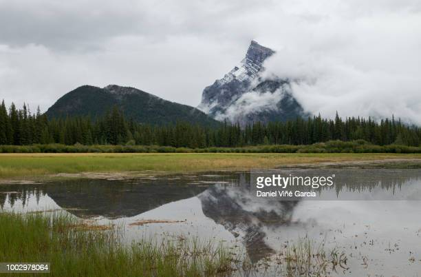 Rundle Mountain reflecting in Vermilion lakes in Banff National Park.