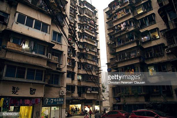 Run-down high-rise apartment buildings in Chongqing, China.