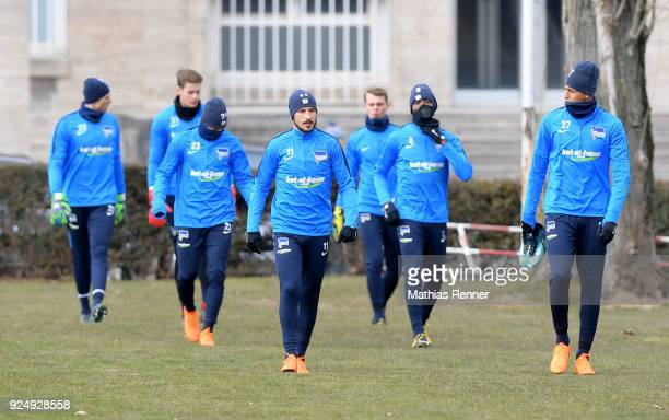 Rune Almenning Jarstein Dennis Smarsch Mitchell Weiser Mathew Leckie Salomon Kalou and Davie Selke of Hertha BSC during a training session at...