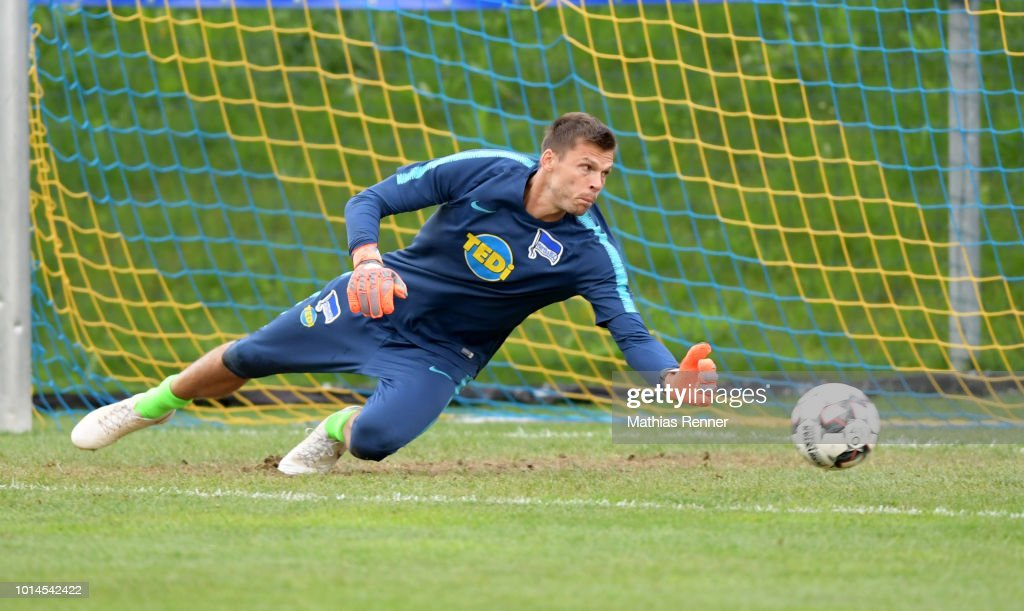 Rune Almenning Jarstein of Hertha BSC before the test match between Hertha BSC and Aiginiakos FC at the Athletic Area Schladming on august 10, 2018 in Schladming, Austria.