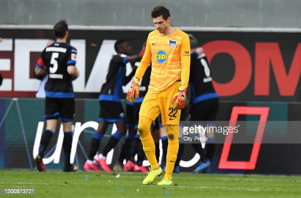 Rune Almenning Jarstein of Hertha BSC during the game between the SC Paderborn 07 against Hertha BSC on february 15 2020 in Paderborn Germany