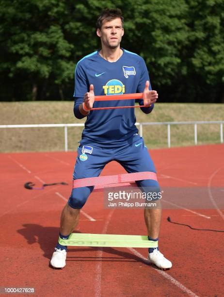 Michael Preetz of Hertha BSC speaks with the journalists during the training camp at the Ruppiner on July 17 2018 in Neuruppin Germany