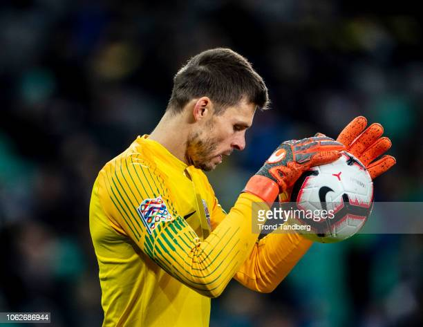 Rune Almenning Jarstein of Norway during the UEFA Nations League C group three match between Slovenia and Norway at Stadion Stozice on November 16...