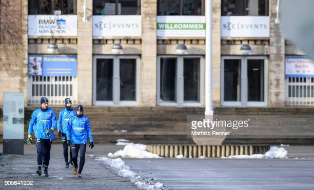 Rune Almenning Jarstein Valentino Lazaro Arne Maier and Vladimir Darida of Hertha BSC during a training session on January 16 2018 in Berlin Germany