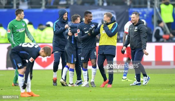 Rune Almenning Jarstein Vedad Ibisevic Vladimir Darida Salomon Kalou Ondrej Duda and coach Pal Dardai of Hertha BSC after the Bundesliga game between...