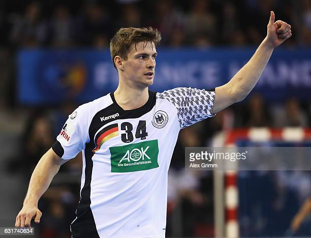 Rune Dahmke of Germany celebrates scoring a goal during the 25th IHF Men's World Championship 2017 match between Chile and Germany at Kindarena on...