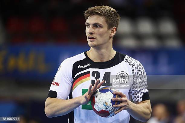 Rune Dahmke of Germany controles the ball during the 25th IHF Men's World Championship 2017 match between Germany and Saudi Arabia at Kindarena on...