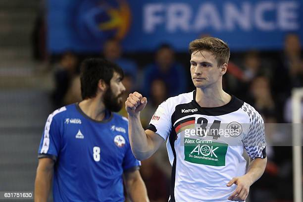 Rune Dahmke of Germany scores a goal during the 25th IHF Men's World Championship 2017 match between Chile and Germany at Kindarena on January 15...