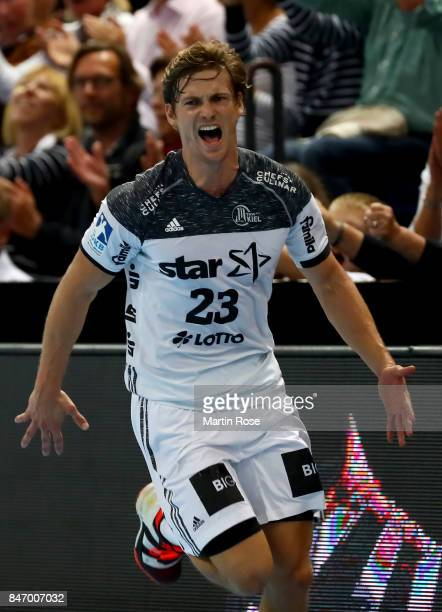 Rune Dahmke of Kiel celebrates after scoring a goal during the DKB HBL Bundesliga match between THW Kiel and DHfK Leiipzig at Sparkassen Arena on...