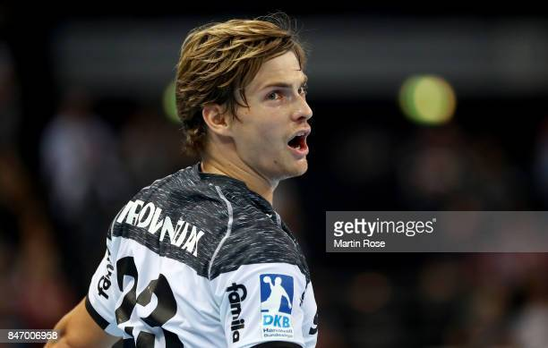 Rune Dahmke of Kiel reacts during the DKB HBL Bundesliga match between THW Kiel and DHfK Leiipzig at Sparkassen Arena on September 14 2017 in Kiel...