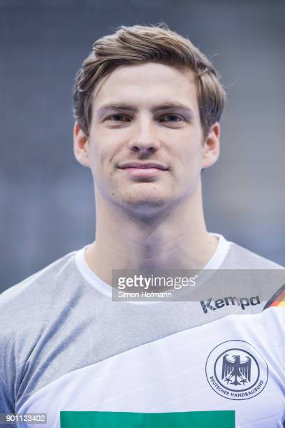 Rune Dahmke poses during the Germany Handball Media Access at Porsche Arena on January 4 2018 in Stuttgart Germany