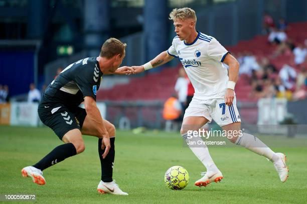 Rune Frantsen of AC Horsens and Viktor Fischer of FC Copenhagen in action during the Danish Superliga match between FC Copenhagen and AC Horsens at...