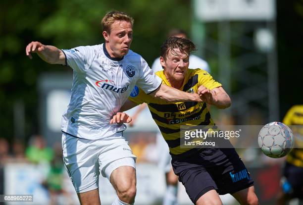 Rune Frantsen of Vendsyssel FF and Pal Alexander Kirkevold of Hobro IK compete for the ball during the Danish NordicBet LIGA 1 division match between...