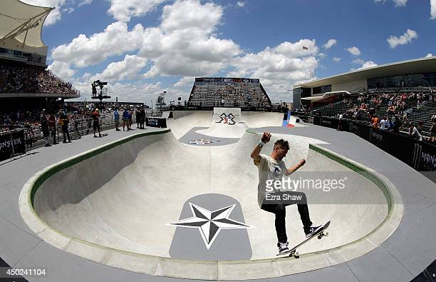 Rune Glifberg of Denmark warms up for round one of the Skateboard Park competition during the X Games Austin at Circuit of The Americas on June 7...