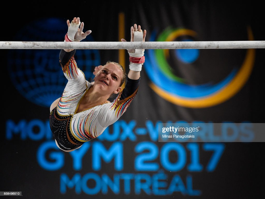 Rune Hermans of Belgium competes on the uneven bars during the women's individual all-around final of the Artistic Gymnastics World Championships on October 6, 2017 at Olympic Stadium in Montreal, Canada.
