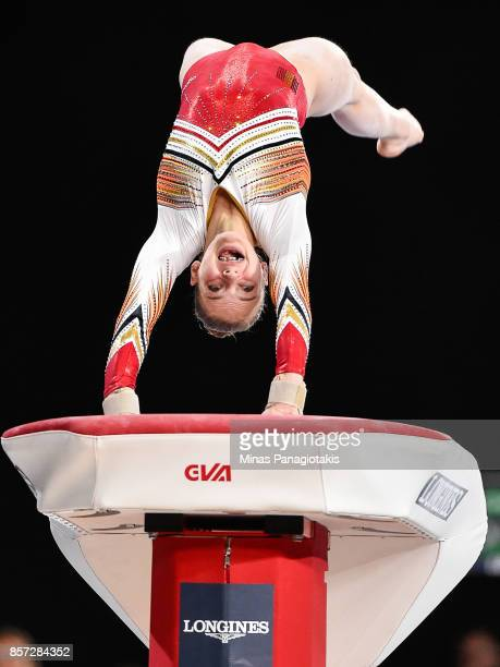 Rune Hermans of Belgium competes on the vault during the qualification round of the Artistic Gymnastics World Championships on October 3 2017 at...