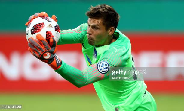 Rune Jarstein goalkeeper of Berlin maks a save during the DFB Cup first round match between Eintracht Braunschweig and Hertha BSC at Eintracht...