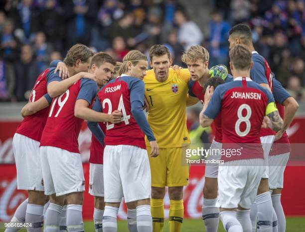 Rune Jarstein Iver Fossum Kristoffer Ajer of Norway during International Friendly between Iceland v Norway at Laugardalsvollur National Stadium on...