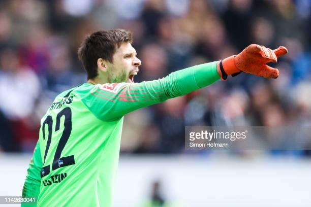 Rune Jarstein of Berlin gestures during the Bundesliga match between TSG 1899 Hoffenheim and Hertha BSC at PreZeroArena on April 14 2019 in Sinsheim...
