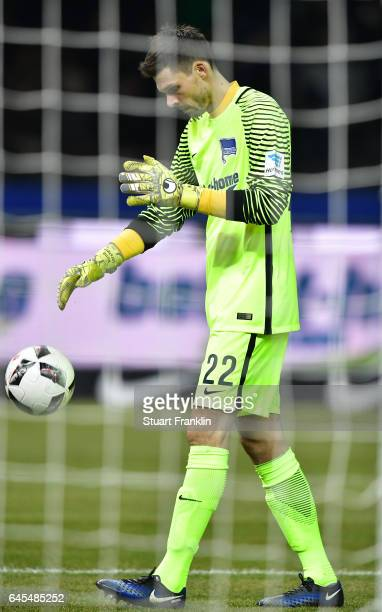 Rune Jarstein of Berlin in action during the Bundesliga match between Hertha BSC and Eintracht Frankfurt at Olympiastadion on February 25 2017 in...