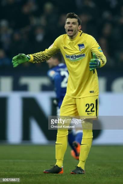 Rune Jarstein of Berlin looks dejected after the first goal of Schalke during the Bundesliga match between FC Schalke 04 and Hertha BSC at...