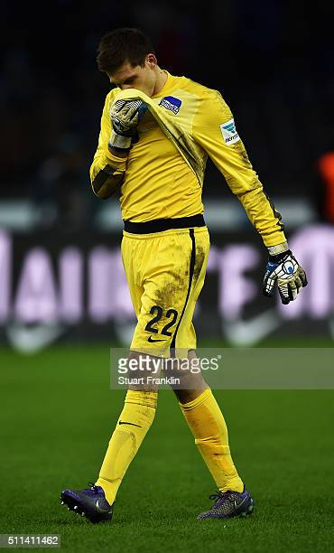 Rune Jarstein of Berlin looks dejected during the Bundesliga match between Hertha BSC and VfL Wolfsburg at Olympiastadion on February 20 2016 in...